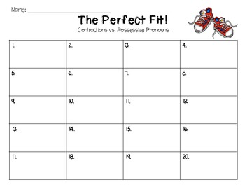 The Perfect Fit {Activities for Contractions vs. Possessive Pronouns}