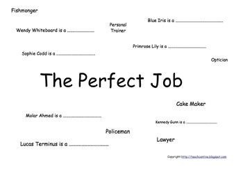 The Perfect Job (Career Wordplay) Advanced Sentence writing