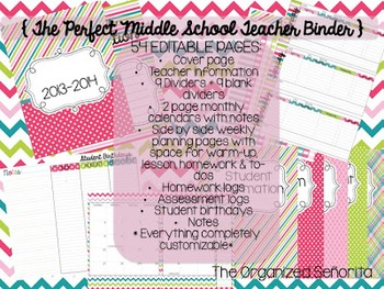 2017-2018 The Perfect Middle School Teacher Binder - completely customizable