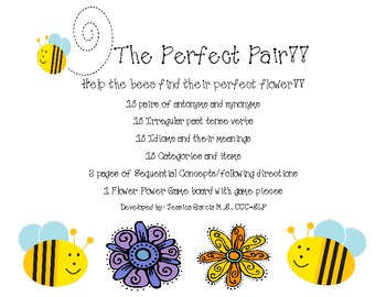 The Perfect Pair!- Language Activities Packet