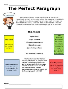 The Perfect Paragraph Writing Activity