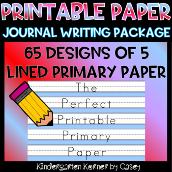 The Perfect Primary Printable Writing Paper 5 lined Portrait 65 Designs K 1