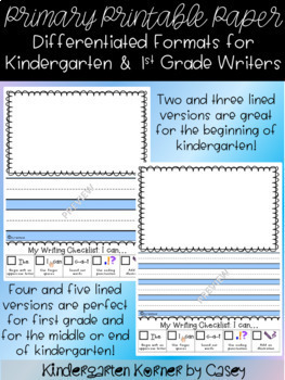 The Perfect Printable Journal Paper for Beginner Writers Kindergarten 1st