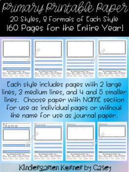 The Perfect Printable Paper- Primary Journal Writing K, 1 Distance Learning