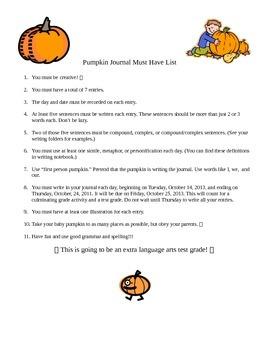 The Perfect Pumpkin Journal- teaching writing a fun way