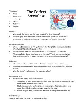 The Perfect Snowflake - Teaching Literary Skills with Pict
