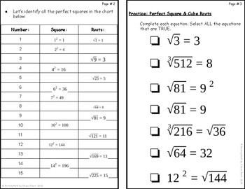 Bundle Notes: Perfect Squares, Roots, & Roots in between Real Number System