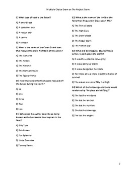 The Perfect Storm 50 Question Multiple Choice Comprehension Test