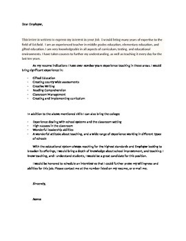 The Perfect Teaching Cover Letter Template Just Add Your Information By MsE