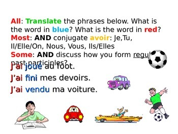 French Teaching Resources. Perfect Tense with Avoir: Regular & Irregular.