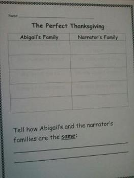 """""""The Perfect Thanksgiving"""" By Eileen Spinelli Activity Packet"""