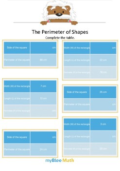 The Perimeter of Shape 3 - Complete the table - Gr 4