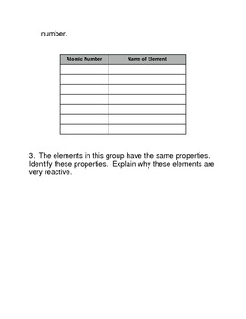 The Periodic Table Common Core Reading and Writing Activity
