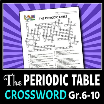 Periodic Table Crossword Teaching Resources Teachers Pay Teachers