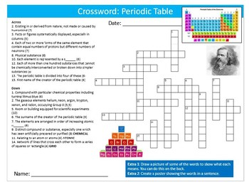 the periodic table crossword science starter keywords activity homework