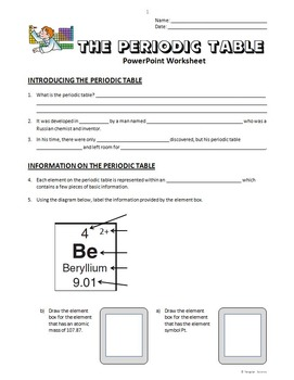 Periodic Table - PowerPoint Worksheet {Editable}