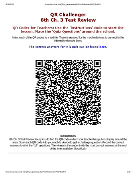 The Periodic Table QR Code Review Questions
