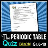 Periodic Table - Quiz {Editable}