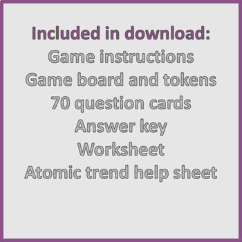 The Periodic Trail Periodic Trends Game And Worksheet