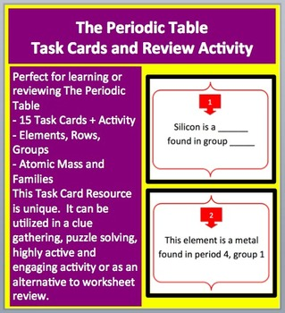 The periodic table task cards and unique activity by teach with fergy the periodic table task cards and unique activity urtaz Choice Image