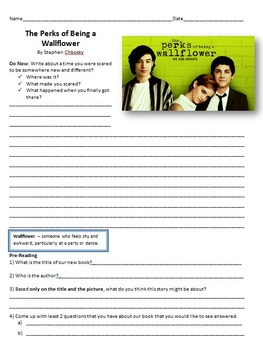 The Perks of Being a Wallflower Reading Guide - Chapter Comprehension Questions