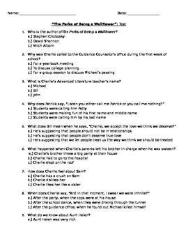 The Perks of Being a Wallflower Test (w/ answer key)