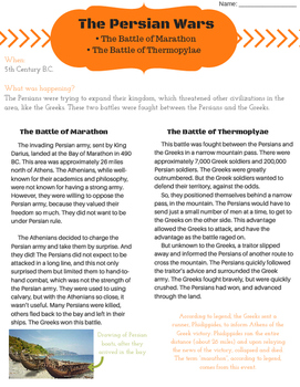 The Persian Wars: Battle of Marathon and Battle of Thermopylae
