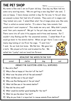 The Pet Shop - Reading Comprehension Passage by Pink Tulip ...