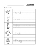 The Pet Shop Trace the Words Worksheets B&W Preschool/Kind
