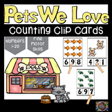 Pets Count and Clip Number Cards