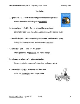 The Phantom Tollbooth Act I Packet