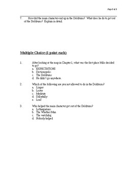 The Phantom Tollbooth Chapter 1-2 Test Questions