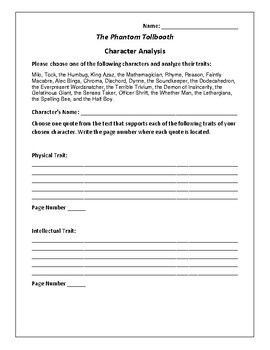 The Phantom Tollbooth Character Analysis Activity - Norton Juster