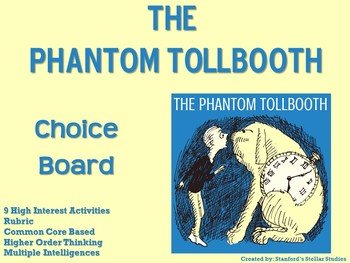 The Phantom Tollbooth Choice Board Novel Study Activities Menu Book Project