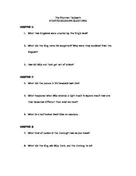 The Phantom Tollbooth- Comprehension Questions