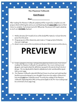 The Phantom Tollbooth - Exit Project Handout
