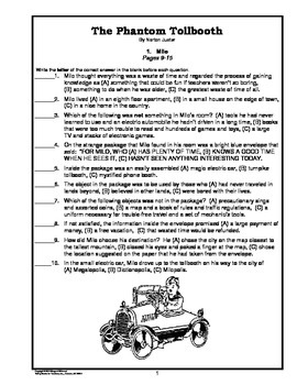 The Phantom Tollbooth Chapter-by-Chapter Objective Tests Teaching Guide