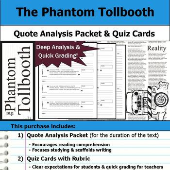 The Phantom Tollbooth - Quote Analysis & Reading Quizzes