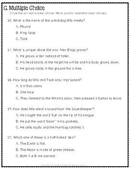 The Phantom Tollbooth Test: Final Book Quiz with Answer Key