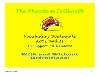 The Phantom Tollbooth: Vocabulary Bookmarks