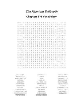 The Phantom Tollbooth Vocabulary Word Search Packet for All Chapters