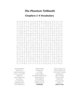The Phantom Tollbooth Vocabulary Word Search for Chapters 1-4