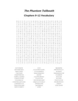 The Phantom Tollbooth Vocabulary Word Search for Chapters 9-12