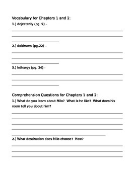 The Phantom Tollbooth Vocabulary and Comprehension Questions