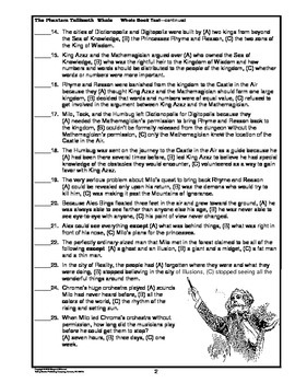 The Phantom Tollbooth Whole Book Test Multiple Choice Questions