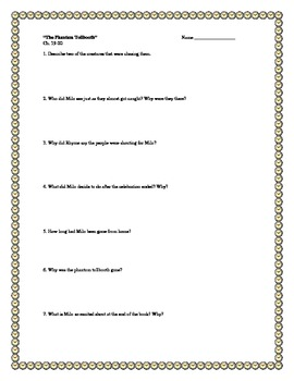 """The Phantom Tollbooth"" by N. Juster, Comprehension Questions and KEY"