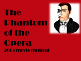 The Phantom of the Opera 2004 movie musical follow along worksheet and puzzle