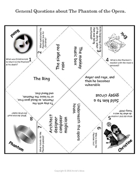 The Phantom of the Opera Cootie Catcher Review Questions Middle and High School