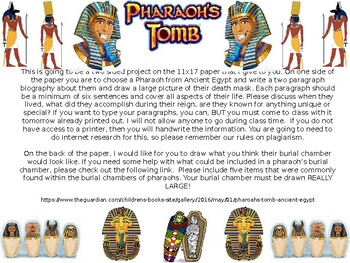 The Pharoah's Tomb Creation Project and Rubric