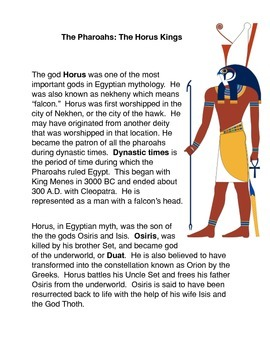 The Pharoahs and the Horus Kings Common Core Science Activities